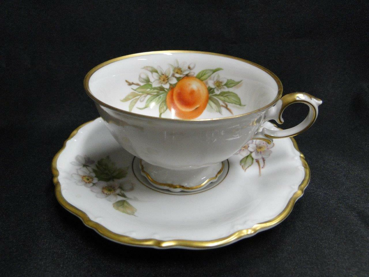 Tirschenreuth Fruit, White, Scalloped: Cup & Saucer Set w/ Peaches, 2 3/8""