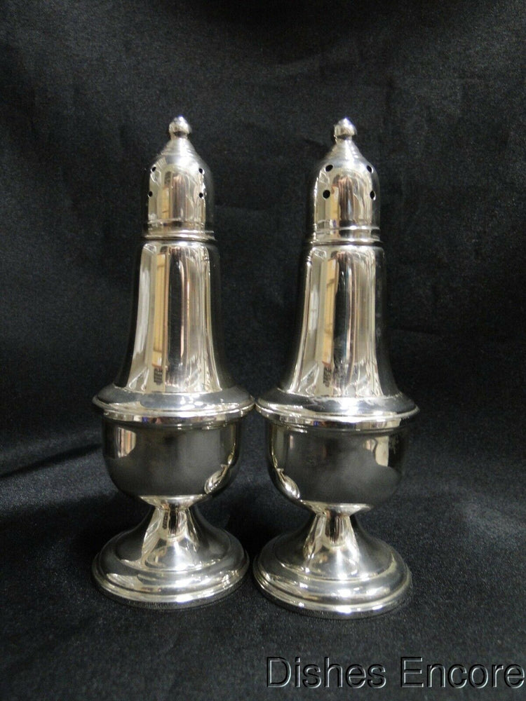 "Empire Weighted Sterling Silver: Set of Salt & Pepper Shakers, 5"" Tall,10 Holes"