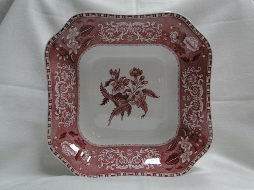 "Copeland Spode's Camilla Red, Pink, Floral: Square Serving Bowl, 9 1/8"", As Is"