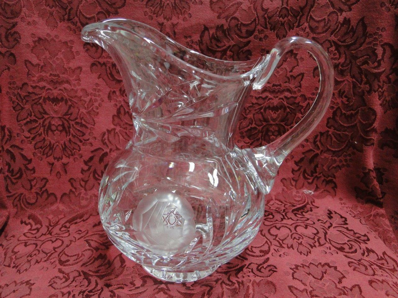 Pitcher, Clear Glass with Gray Cut Rose with Star Center, 8""