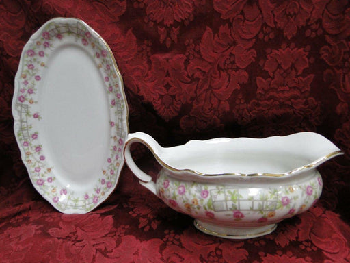 Amcrest Bavaria, Country Garden, Pink /Yellow Roses, Gold: Gravy w/ Underplate