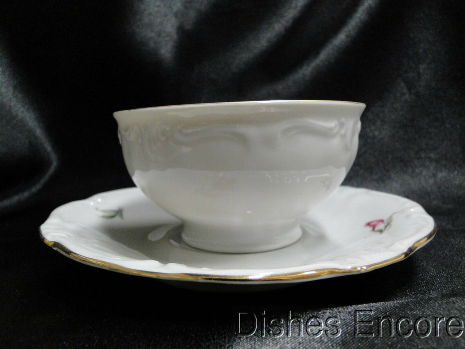 Winterling 84: Embossed Scrolls, Pink Flowers: Cup & Saucer Set (s), 2 1/8""