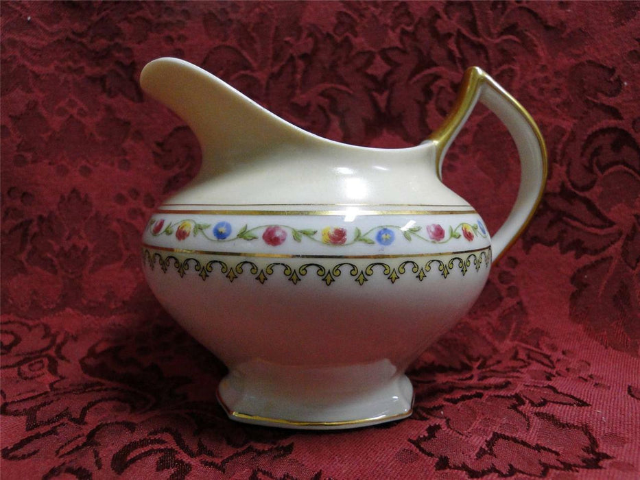 Raynaud RYD2: Tan Rim, Floral Center, Rose Trim: Creamer / Cream Pitcher, As Is