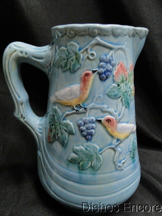 Highmount, Germany, Majolica, Birds & Grapes: Pitcher 7 1/4""