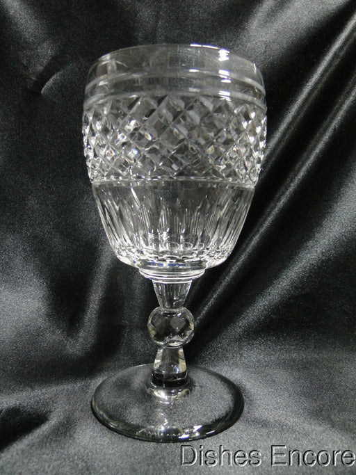"Rock Sharpe 2015-2, Cut X's & Ovals, Ball Stem: Water or Wine Goblet 6 3/8"", As Is"