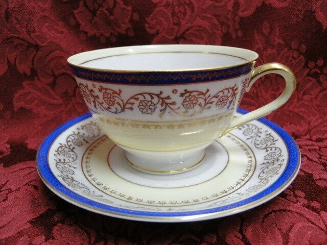 Shimokata Thin Blue Band, Gold Scroll, Smooth: Cup & Saucer Set (s)