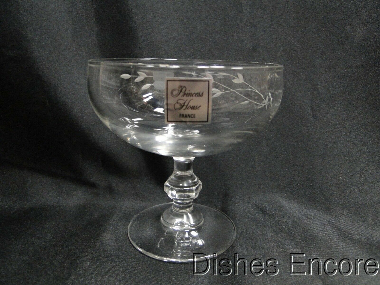 Princess House Heritage, Clear w/ Gray Cut Florals: Champagne / Sherbet, 4 3/8""