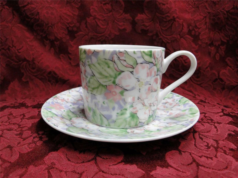 Neiman Marcus Apple Blossom, Pink, Green, Purple, Japan: Cup & Saucer Set (s)