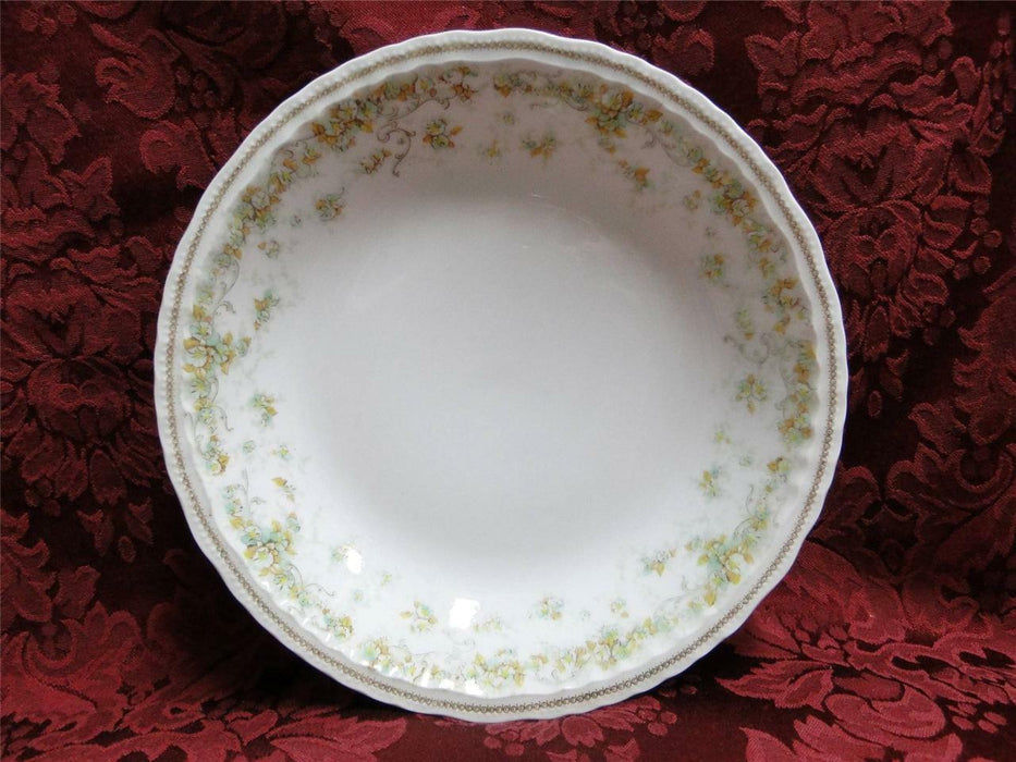 Haviland (Limoges) Green & Tan Floral Garland, Blank 123: Coupe Soup Bowl 7 1/2""