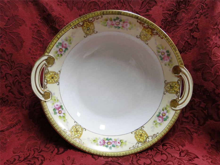 Noritake Pink Florals w/ Raised Gold: Round Vegetable Bowl w/ Handles, 9.5""