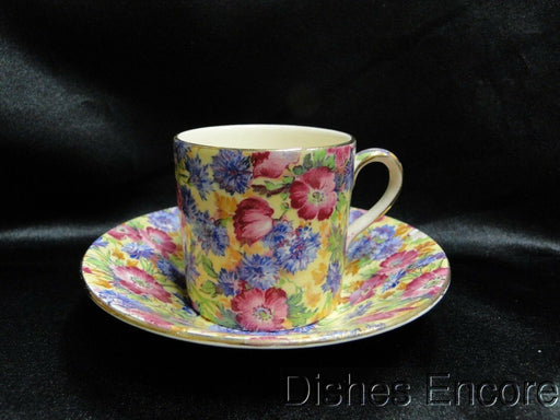 Royal Winton Royalty, Chintz, Yellow Background: Demitasse Cup & Saucer Set