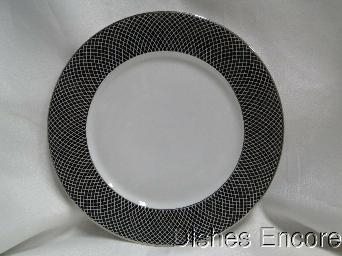 Block Midnight, Portugal, Black/White Rim with Platinum: Salad Plate (s) 8""