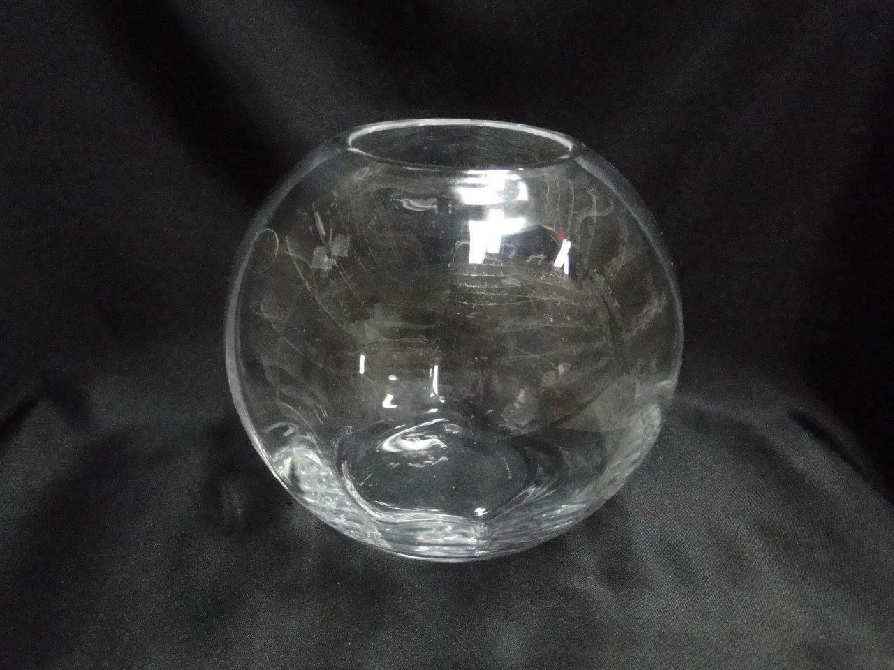 "Wedgwood Devon, Clear Heavy Optic: Rose Bowl, 5 5/8"" Tall, Original Sticker"