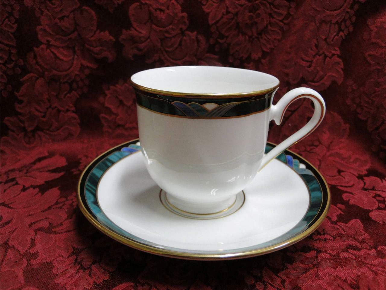 Lenox Kelly, Green, Black, Purple Band: Cup and Saucer Set (s)