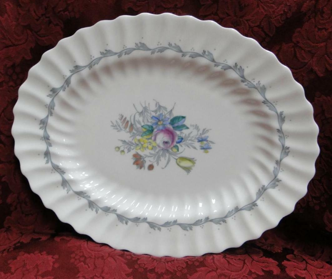 Royal Doulton The Chelsea Rose, Gray Scroll, Floral: Platter, 12 1/2""