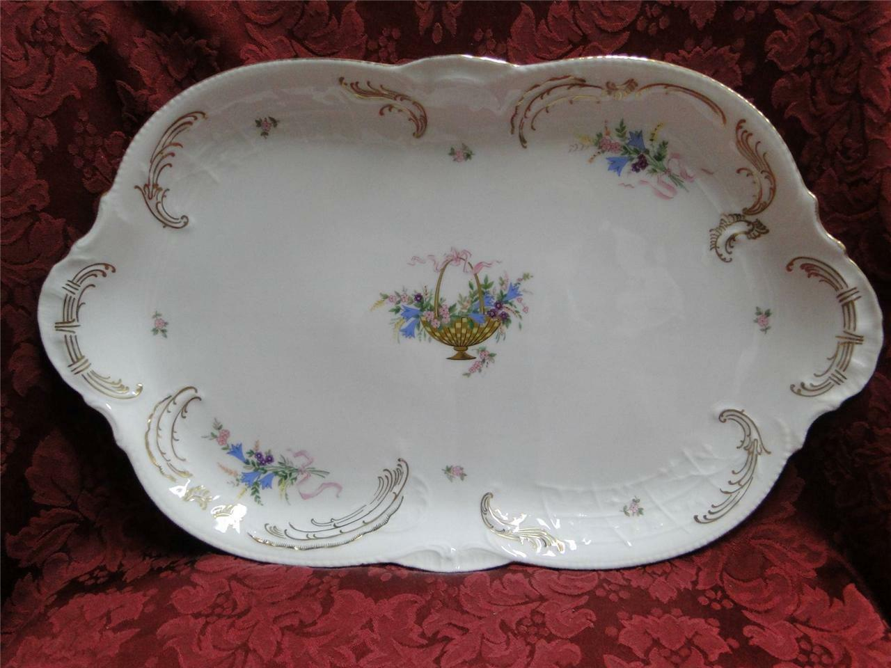 Rosenthal Rokoko, Flower Basket, Ribbons: Oval Serving Platter, 15 1/2""