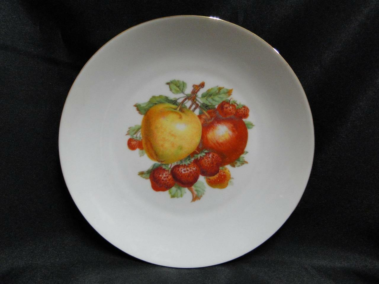 Bareuther BTH4 Fruit: Plate with Apples and Strawberries Gold Trim AS IS, 7 3/4""