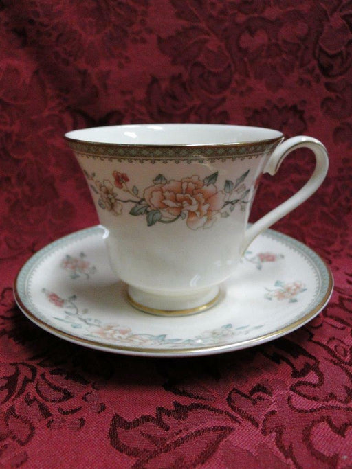 Minton Jasmine, Peach & White Flowers: Green Band: Cup/Saucer Set (s)
