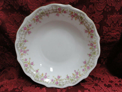 Amcrest Bavaria, Country Garden, Pink /Yellow Roses, Gold: Round Serving Bowl