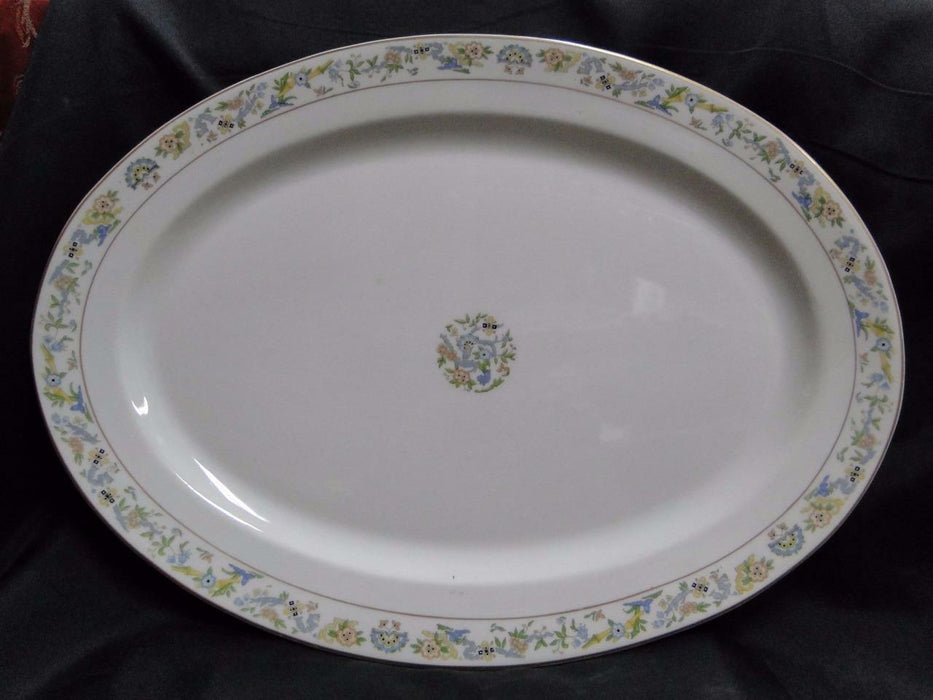 Syracuse Oriental, Blue/Green/Tan Border, Gold Trim: Oval Platter, 17 7/8""