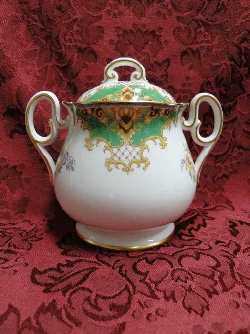 "Shelley Sheraton Green, Floral, Green/Tan Border: Sugar Bowl & Lid, 4.75"", As Is"