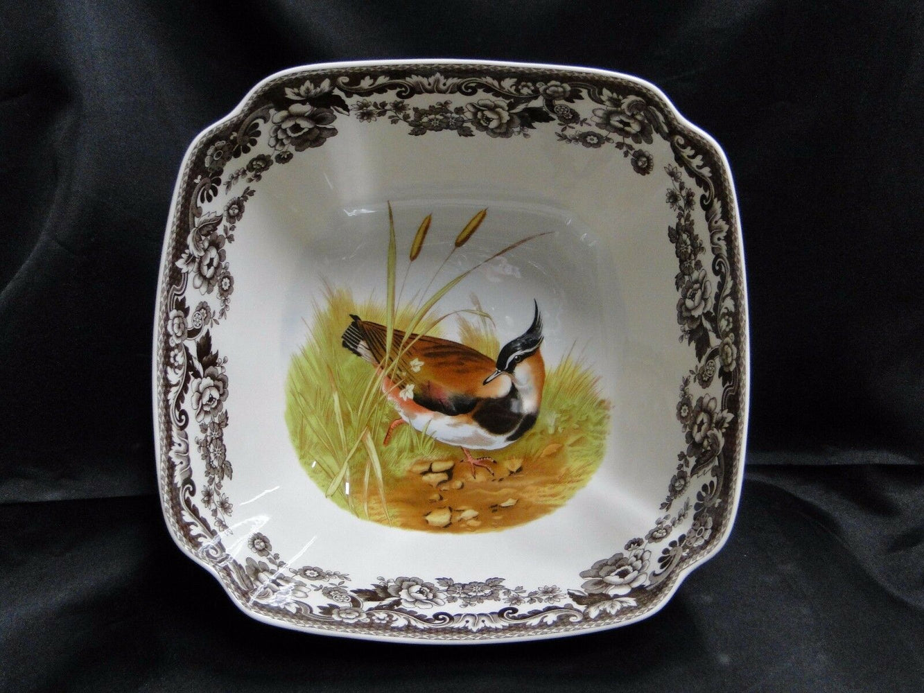 Spode Woodland Lapwing Pintail Quail Game Birds: NEW Square Serving Bowl, Box
