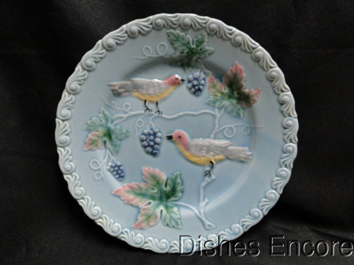 "Germany, Majolica, Birds & Grapes: Salad Plate Pale Blue, 8 1/2"" AS IS"