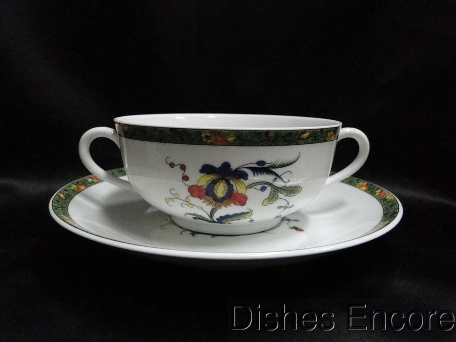 Raynaud Ceralene Louviers, Flowers, Green Band: Cream Soup & Saucer Set, As Is
