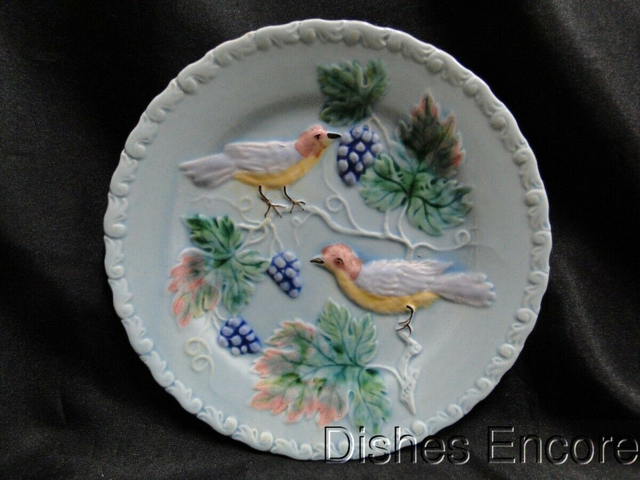 "Highmount, Germany, Majolica, Birds & Grapes: Salad Plate 7 3/4"" AS IS"