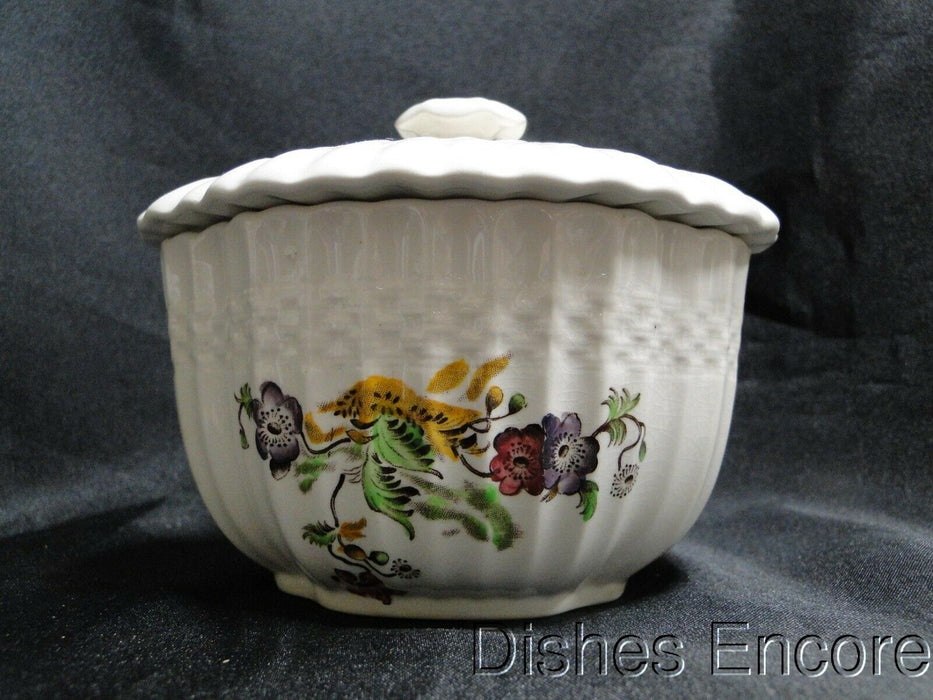 "Spode Wicker Lane, Basket Weave, Florals: Sugar Bowl & Lid, 4"", Crazing"