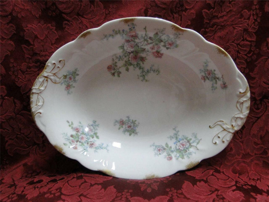 Wm Guerin Limoges Pink Roses Blue Green: Oval Vegetable 10""