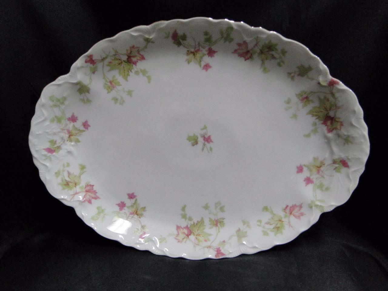 Hutschenreuther Maple Leaf 7578 Scalloped, Gold Trim: Oval Platter 12 5/8""