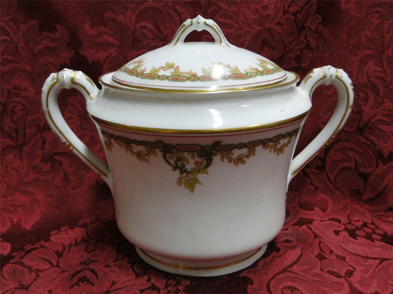 Haviland (Limoges) Schleiger 290 Green Chain, Red Berries: Sugar Bowl with Lid 5""