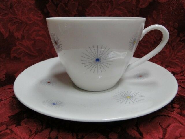 Seltmann 23615, Liane Shape, Multicolor Starbursts: Cup & Saucer Set (s)