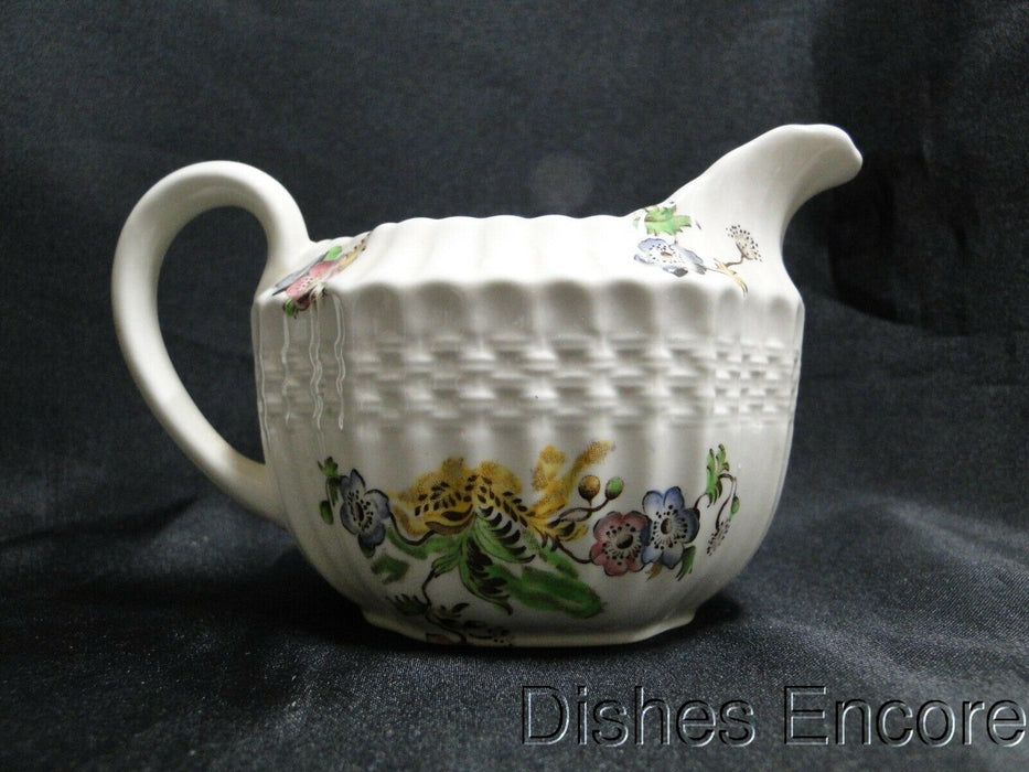 Spode Wicker Lane, Basket Weave, Florals: Creamer / Cream Pitcher, 3 1/4""