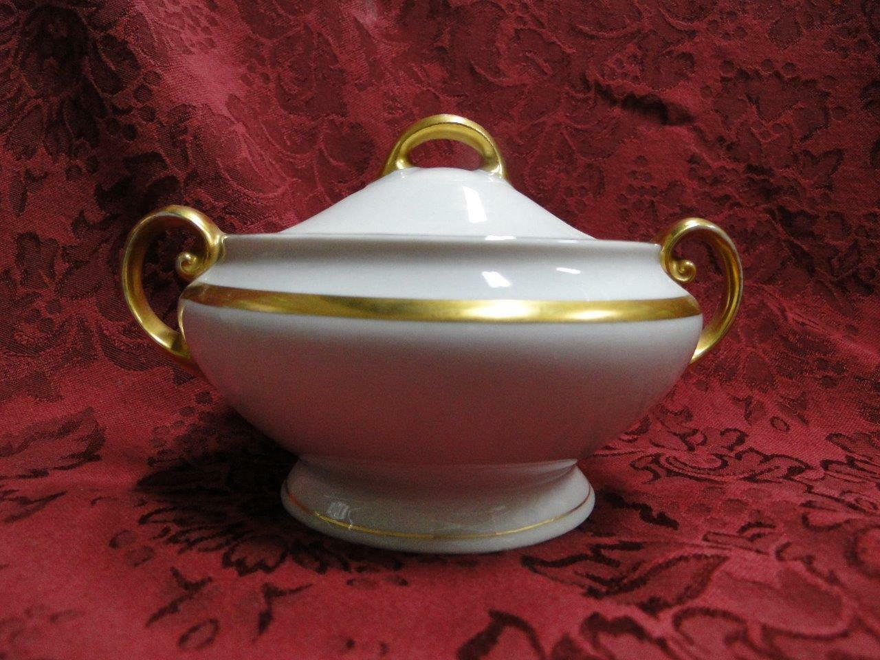"Tirschenreuth Colonial, White w/ Smooth Gold Band: Sugar Bowl & Lid, 3.25"" Tall"