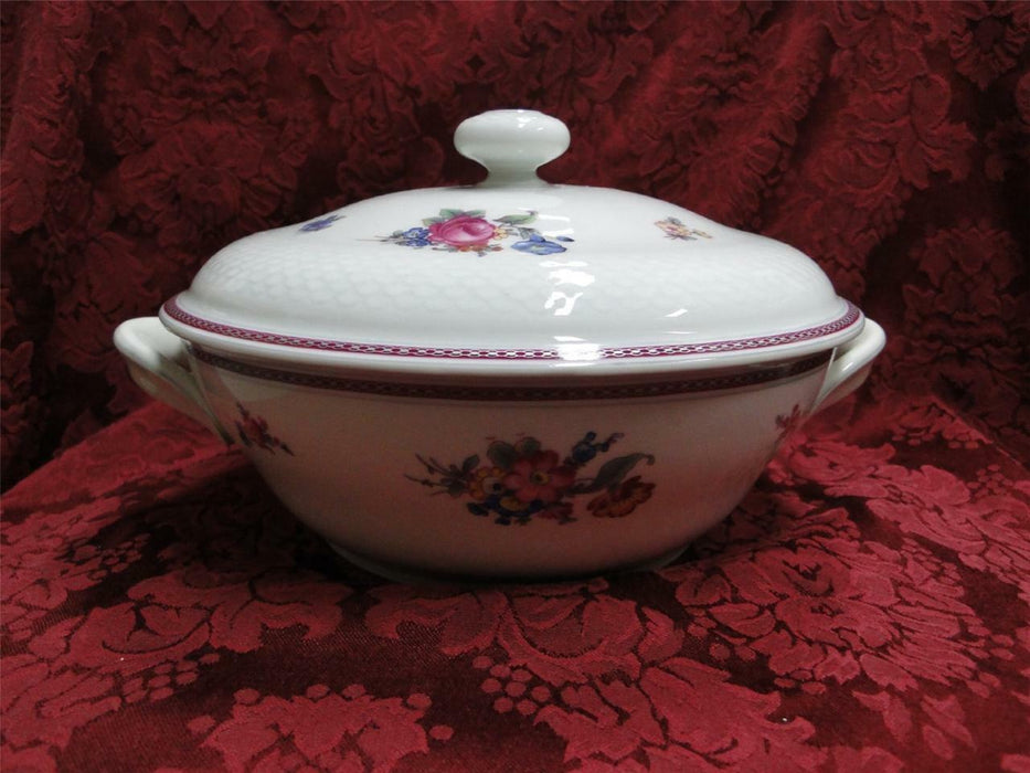 Thomas China 7144, Burgundy & Platinum Band: Covered Vegetable / Serving Bowl
