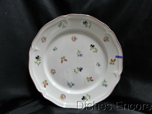 "Villeroy & Boch Petite Fleur, Small Flowers, Red Trim:Luncheon Plate 9 5/8"" Chip"