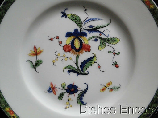 Raynaud Ceralene Louviers, Flowers, Green Band: Bread Plate (s), 6 1/2""