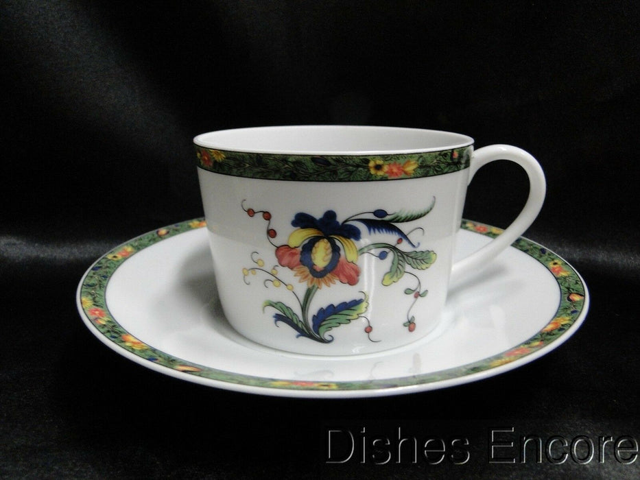 Raynaud Ceralene Louviers, Flowers, Green Band: Cup & Saucer Set (s), 2 1/4""