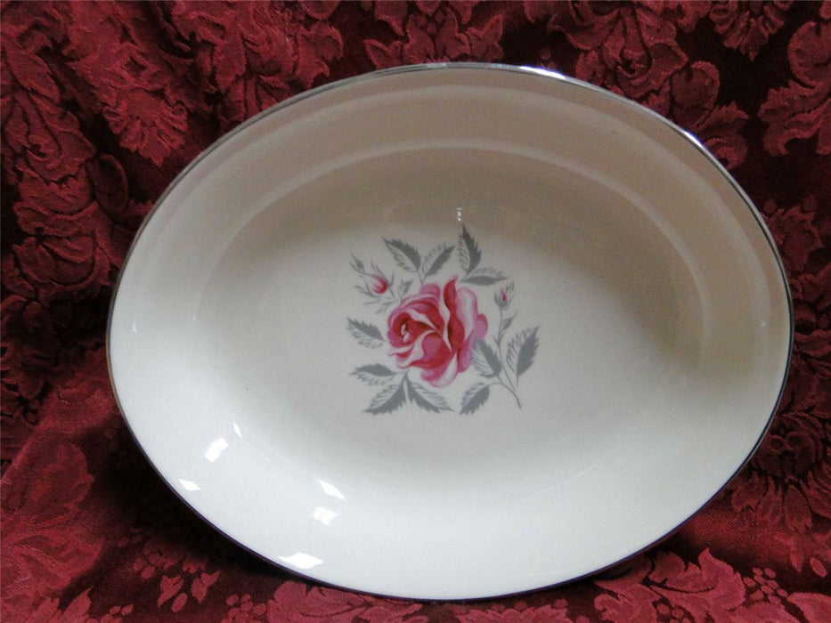 Flintridge Miramar Grey Rim, Rose, Platinum Trim: Oval Vegetable Bowl (s)
