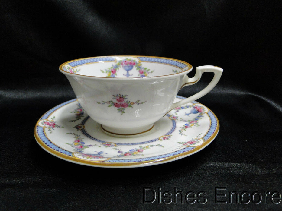 "Royal Worcester Rosemary Sky Blue, White: Cup and Saucer Set (s), 2 1/8"", As Is"