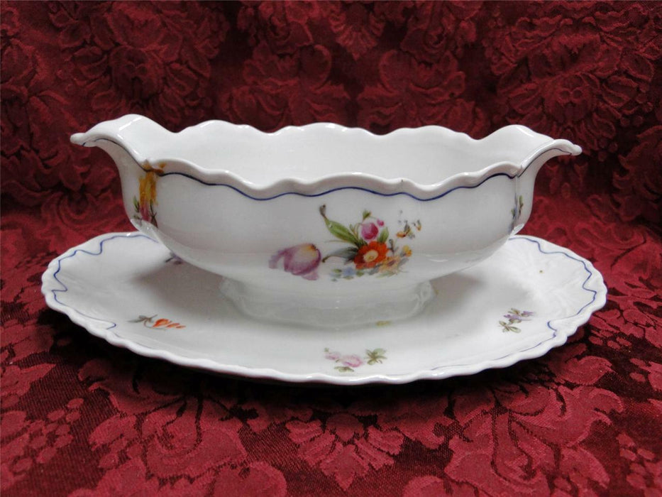 Krautheim/Franconia FR115 Floral with Blue Trim: Gravy Boat with Underplate