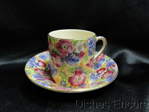 Royal Winton Royalty, Chintz Yellow Background: Demitasse Cup & Saucer Set As Is