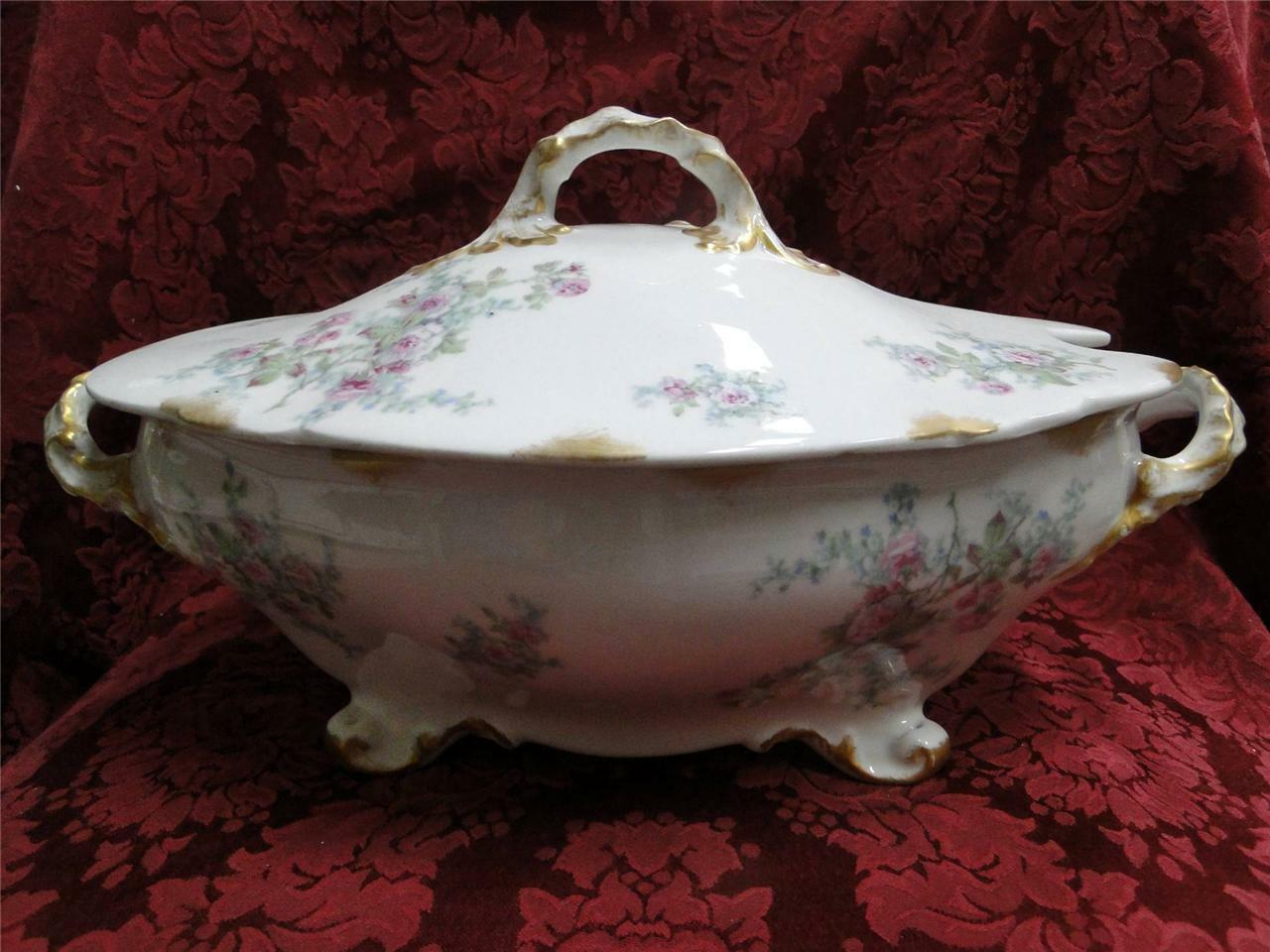 Wm Guerin Pink Roses w/ Blue & Green, Gold Trim: Oval Tureen with Lid AS IS