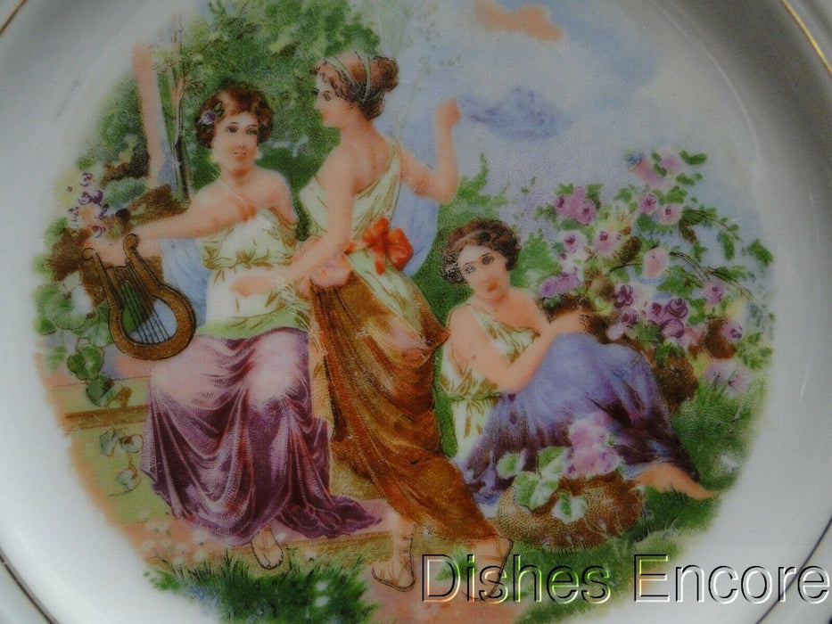 White Reticulated Plate w/ Scene of 3 Ladies in Garden, Gold Trim, 8 1/8""