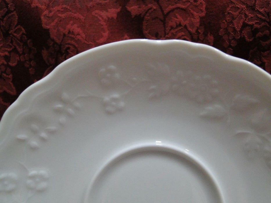 "Raynaud Hawthorne, White w/ Raised Flowers: Cup & Saucer Set (s), 2 3/8"" Tall"