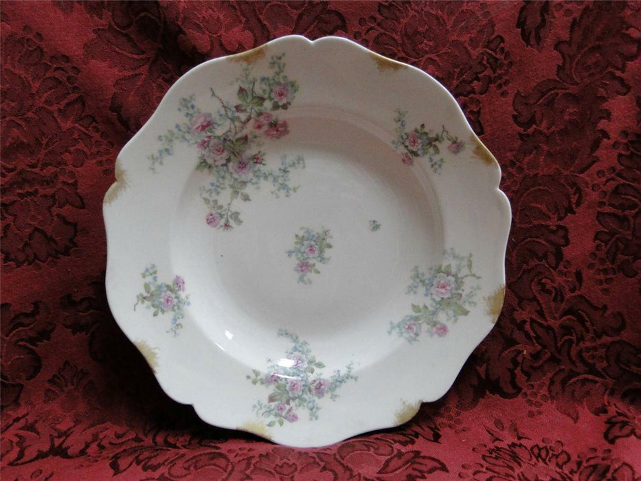 Wm Guerin Limoges Pink Roses w/ Blue & Green: Rim Soup Bowl (s) 9""