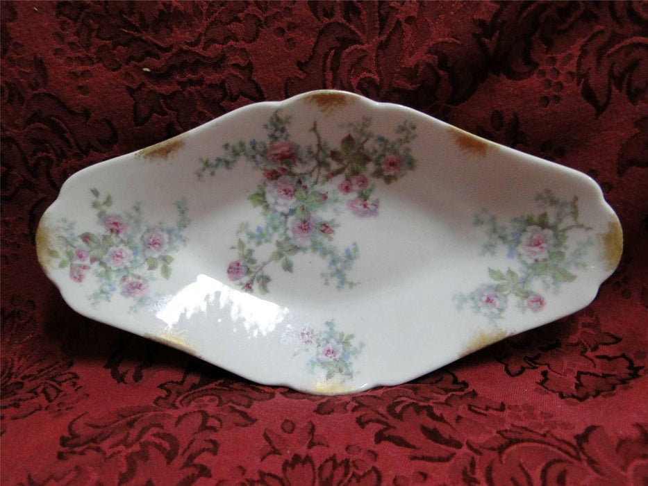 Wm Guerin Limoges Pink Roses w/ Blue & Green: Relish Dish