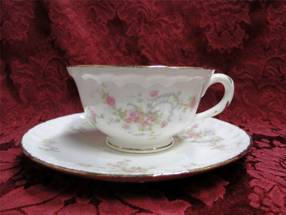 Pope Gosser New Princess 3034, Pink Rose Rim & Center: Cup & Saucer Set (s)